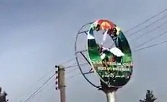 Öcalan posterleri böyle parçalandı