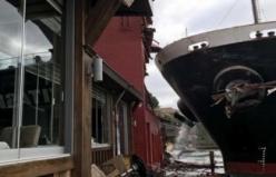 Geminin yalıya çarpma anı kamerada