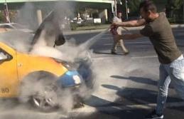 Ticari taksiyi söndürmek için vatandaşlar seferber...