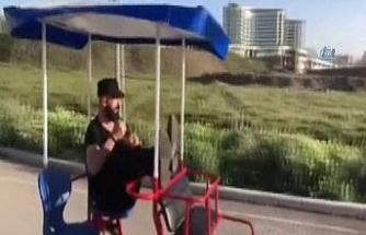 Ehliyetine el konulan fenomen bisiklete binmeye başladı
