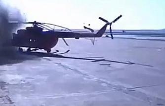 Helikopterin pervanesi tesise çarptı