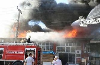 Karabük'te mobilya atölyesinde yangın