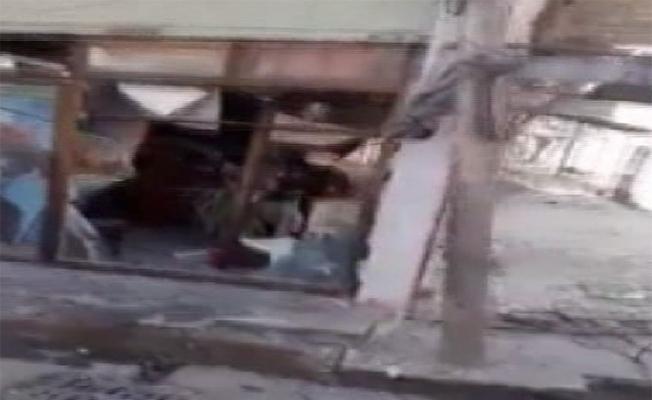 Raco'da PKK/YPG'li teröristler çarşıyı tahrip etti