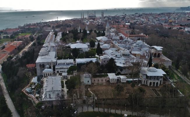 Restorasyondaki Topkapı Sarayı havadan görüntülendi