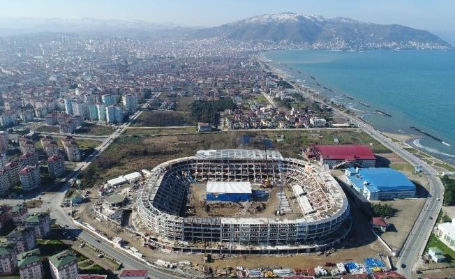 Yapımı devam eden Ordu Stadyumu böyle görüntülendi