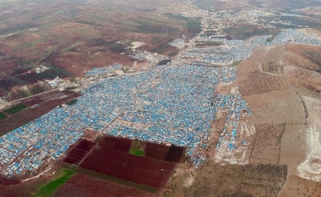 YPG'li teröristlerin hedefi olan o kamp havadan görüntülendi