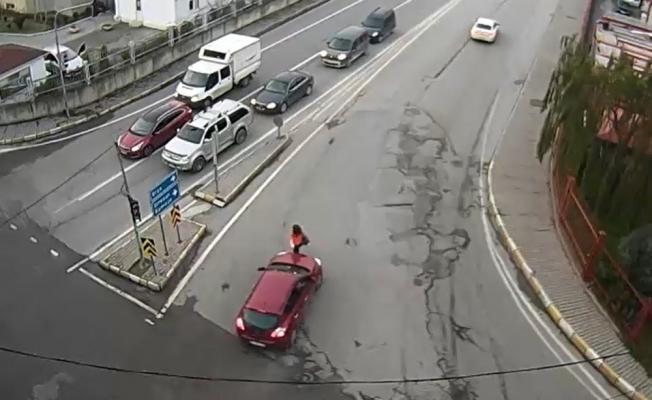 Dikkatsiz sürücüler kamerada