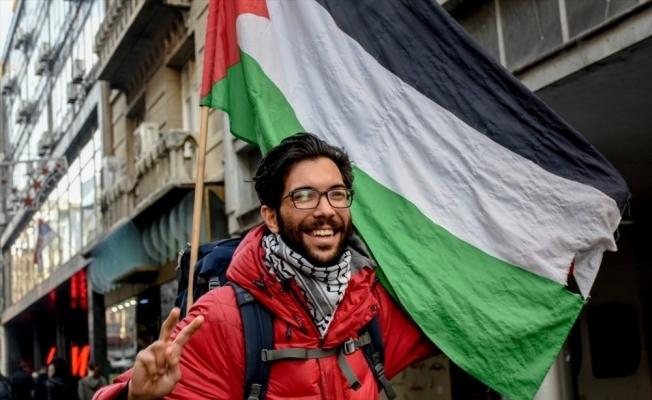 İsrail zulmüne karşı, İsveç'ten Filistin'e yürüyor