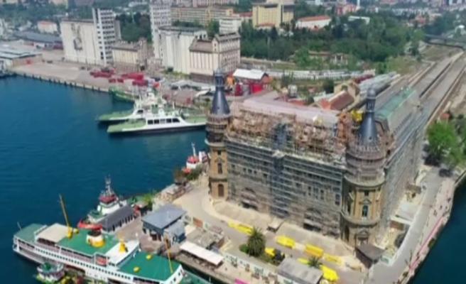 Haydarpaşa Garı'nda restorasyon çalışmaları havadan görüntülendi