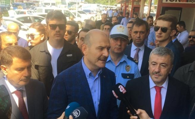 Bakan Soylu 15 Temmuz Demokrasi Otogar'nda denetimde