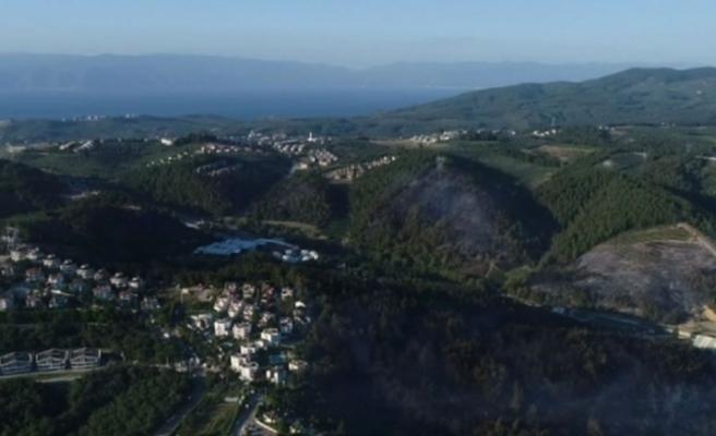 Bursa'nın yanan ciğerleri havadan görüntülendi