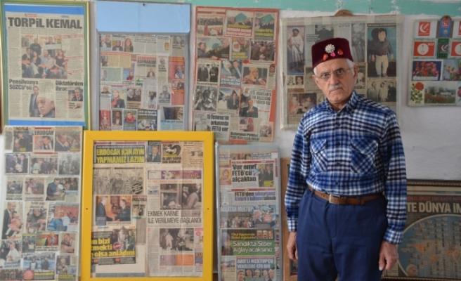 Tam 41 yıldır gazete kupürü topluyor